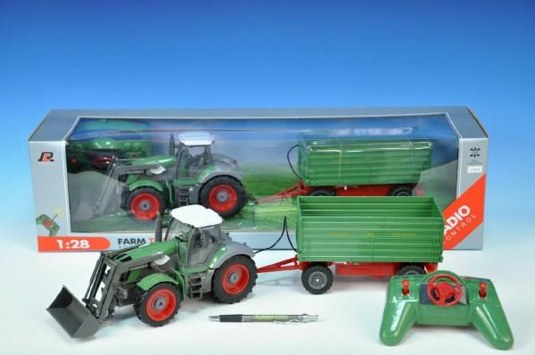 RC Traktor s nakladačem a vlečkou plast 25cm
