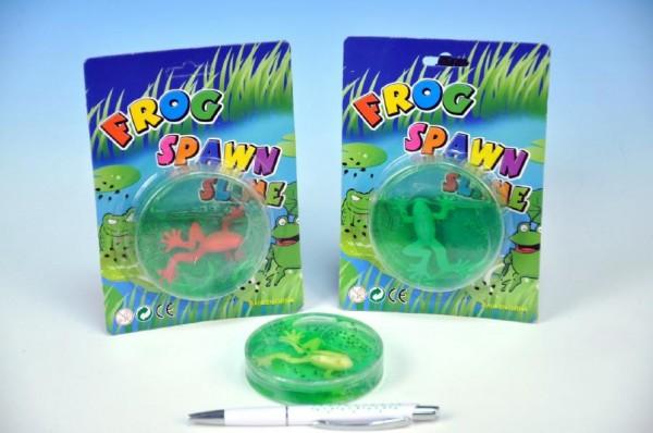 Fotografie Sliz žába plast 8cm asst 3barvy v krabičce na kartě