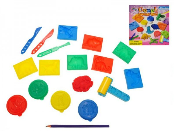 Sada plastelína/modelína dinosauři 4ks s doplňky v krabici