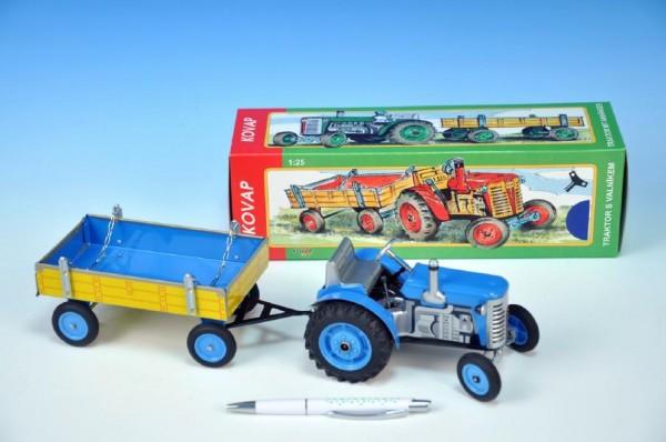 Traktor Zetor s valníkem modrý na klíček kov 28cm Kovap v krabičce