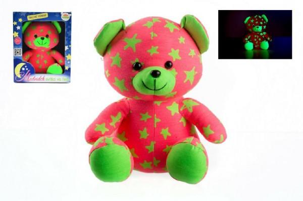 Medvídek plyšový 21cm svítící růžový/zelený