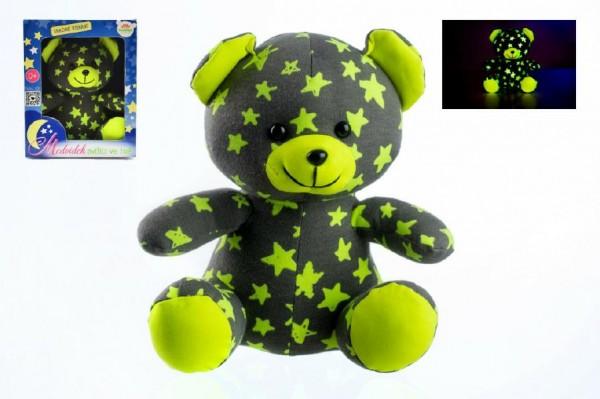 Medvídek plyšový 21cm svítící šedý/žlutý