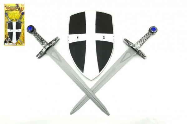 Rytířská sada dětská 2 meče a štít 49cm
