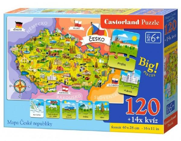 Puzzle Mapa České republiky 120 dílků + 14 kvízů