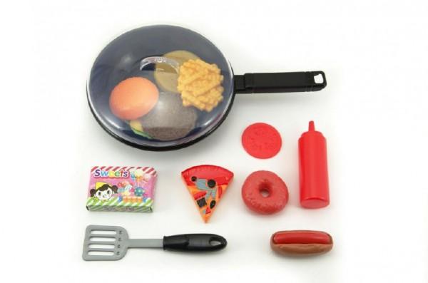 Dětské nádobí - pánvička plast 31 cm s doplňky