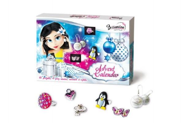Briliantina - adventní kalendář 18 prstýnků, 4 páry náušnic, náramek a ozdoba