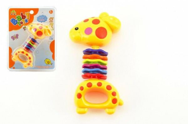 Fotografie Chrastítko žirafa plast 15cm na kartě 3m+
