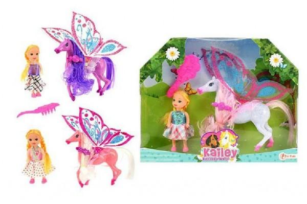 Koník s křídly s panenkou a hřebenem plast 15cm