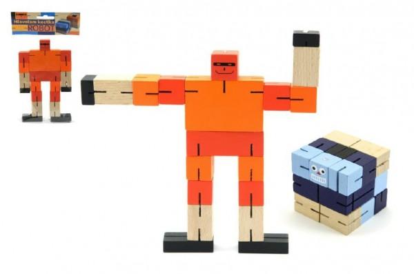 Hlavolam dřevěný kostka 6 cm Robot