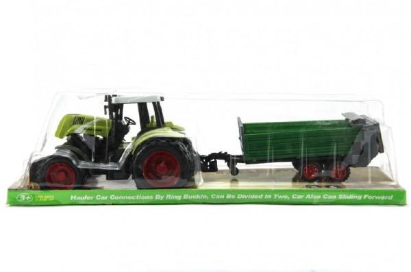 Traktor s přívěsem plastový model 45 cm