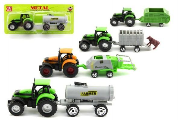 Traktor s přívěsem plastový model 16 cm