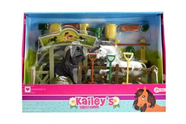 Stáj pro koně + 2ks koní s doplňky plast