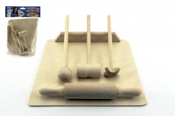 Dřevěné dětské kuchyňské náčiní 20 cm