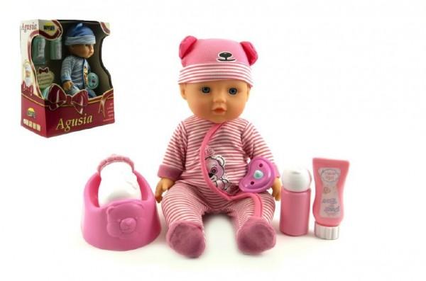 Panenka miminko Agusia 27 cm pijící a čůrající