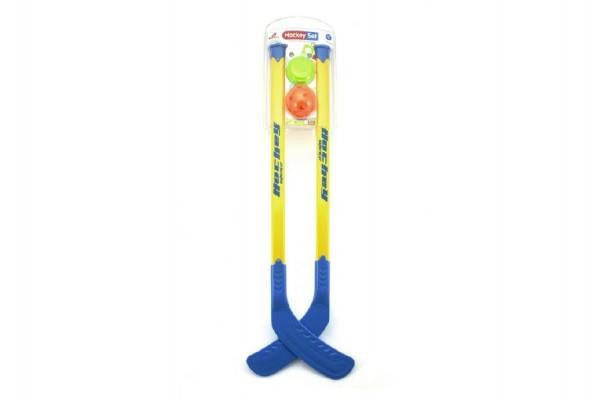 Plastová hokejka 70 cm 2ks s pukem a míčkem