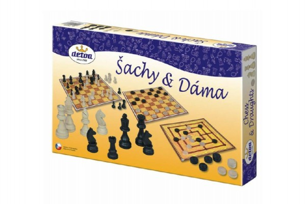 Šachy a dáma Detoa dřevěné