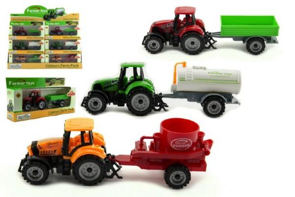 Traktor s přívěsem kov/plast 19 cm