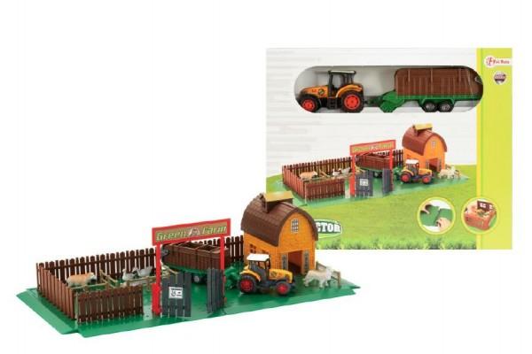 Farma s traktorem domeček plast v krabici 26x22 cm