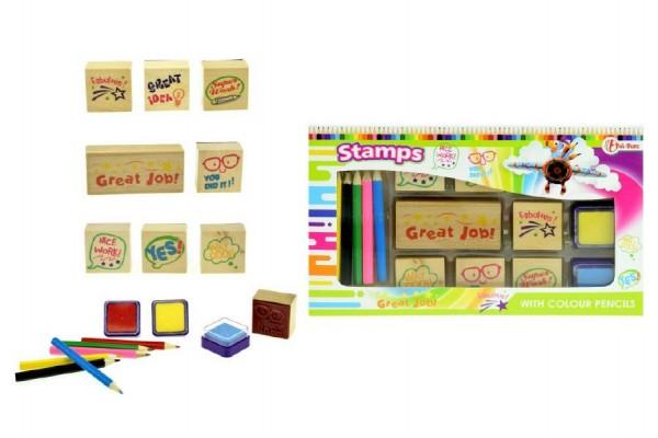 Razítka s poduškami + pastelky v krabičce 24x14 cm