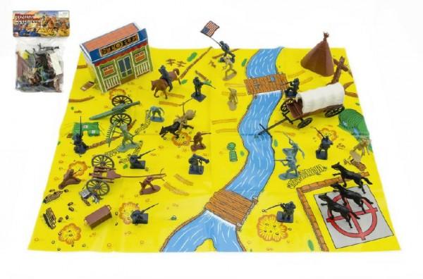 Indiáni a kovbojové - figurky 6 cm s mapou