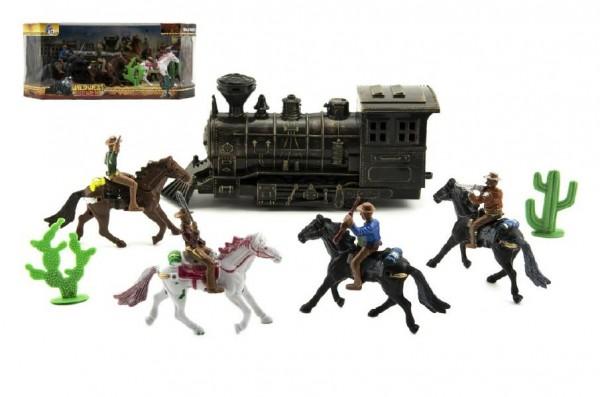 Fotografie Sada kovbojové s lokomotivou plast 7ks v krabici