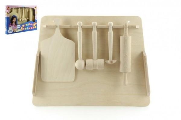 Dřevěné dětské kuchyňské náčiní 40 cm