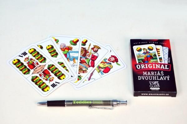 Fotografie Mariáš dvouhlavý společenská hra karty v papírové krabičce