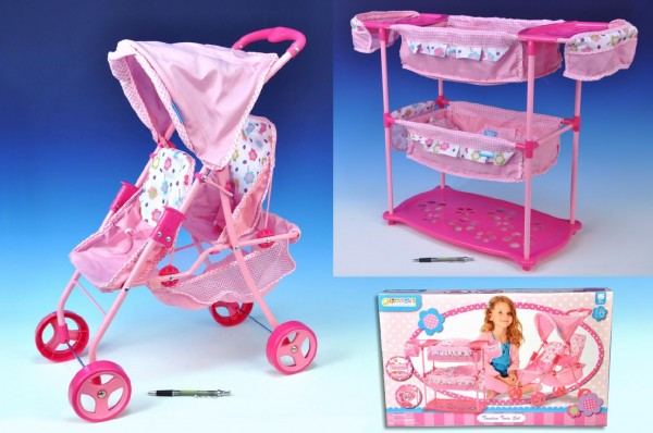 Sada pro panenky dvojčata - kočárek + postýlka + židlička Hauck